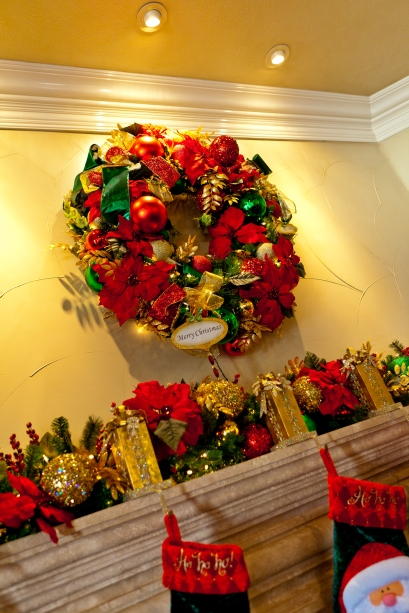 Show Me Decorating Wreath over the mantel Christmas