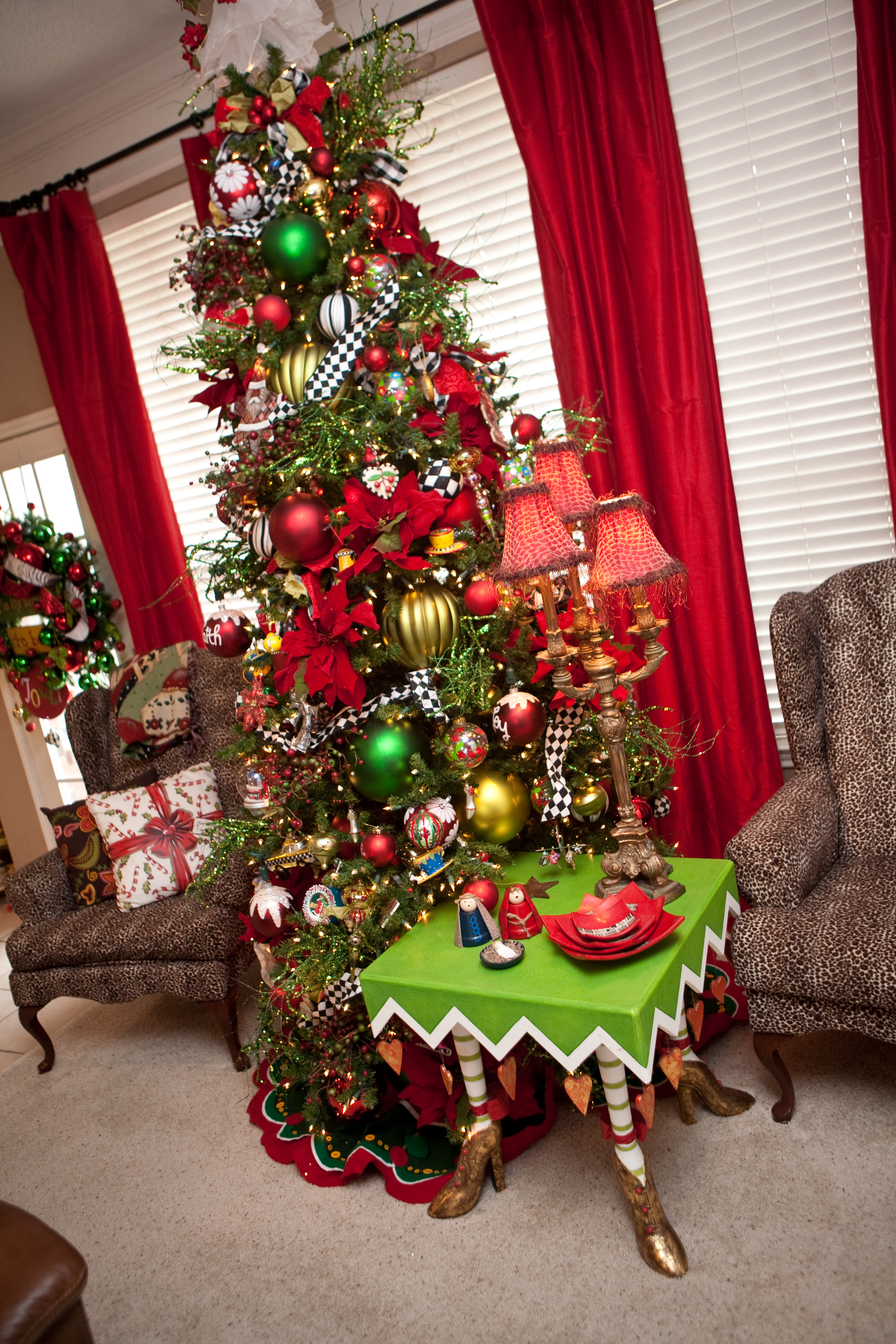 White christmas tree with red and green decorations - Have A Jolly Holiday