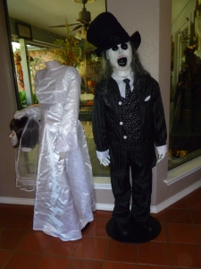The bride has lost her head! Halloween wedding couple! Beverly said het granddaughter even had them perform a wedding ceremony last year! It's fun with kids imagination!