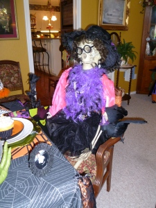 Purple and hot pink dress this lady skeleton up for the Halloween festivities! More Whimsey and fun!