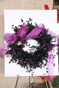 Purple glitter ribbon is first ribbon attached!