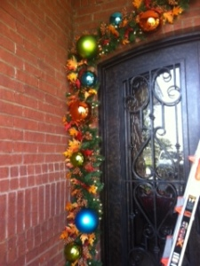 Shatterproof balls are not just for Christmas! Colors and sizes were chosen to compliment the peacock theme.