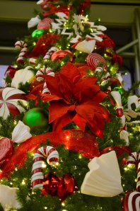 #Red #Poinsettias #Texas sized are a perfect fit for this 16' #Christmas tree. Complete with Red #mesh, #Candy canes