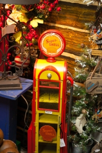 Fun Rustic Lamps, decrotive accessorries like this iconic Super Shell gas pump add to the West Texas themed vignette