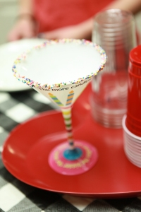 Birthday glass for the birthday girl! glass rimmed with birthday sprinkles!