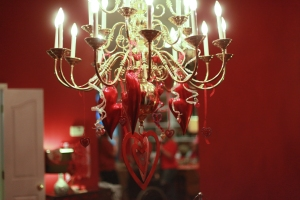 The chandelier is a great place to add seasonal decorations!