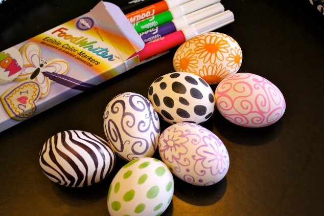 Easter eggs decorated with food writer