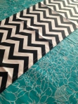 Turquoise Table cloth (last Spring #Walmart) and Black and White Chevron table runner (birthday gift)
