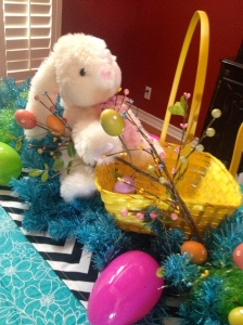 The Easter basket is ready to be filled. use and assortment of, colors, sizes and patterns.