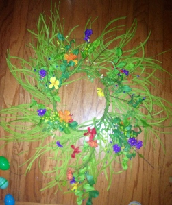 Twisty Grass Wreath with Bright Multi Flower Garland