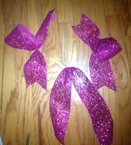2 single loop bows, (1yd each) 1 tail (2yds)
