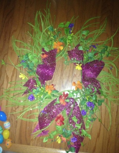 Bows and tail added to wreath