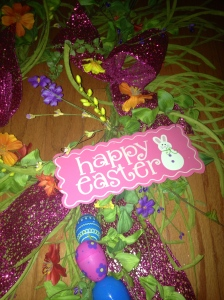 Happy Easter sign is wired on