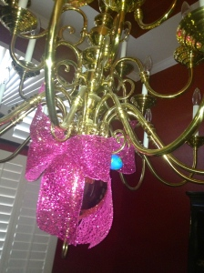 Even the Chandelier gets dressed for Easter  Glitter Coral Ribbon