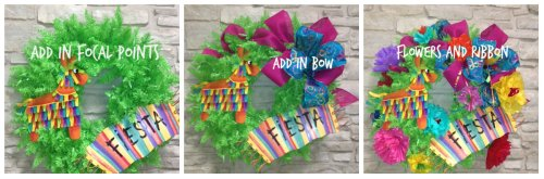 Wreath, Ribbon, Floral, Fiesta