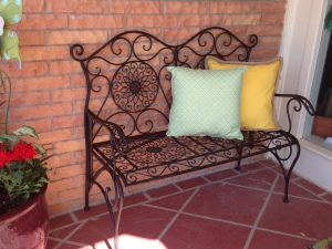 Iron Bench adds seating and completes the outdoor room