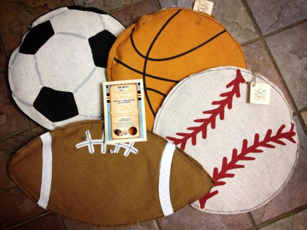 Glory Haus Sport ball burlees, will be perfect for baby Shower Decorating!