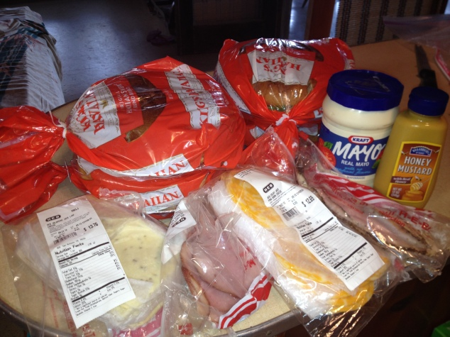 Key ingredients for the Hawaiian Sandwiches, Kings Hawaiian bread, mayo, honey mustard, colby jack chess, pepper jack chess, honey mesquite ham, and peppered turkey breast. Lettuce, tomatoes and avocado are optional.