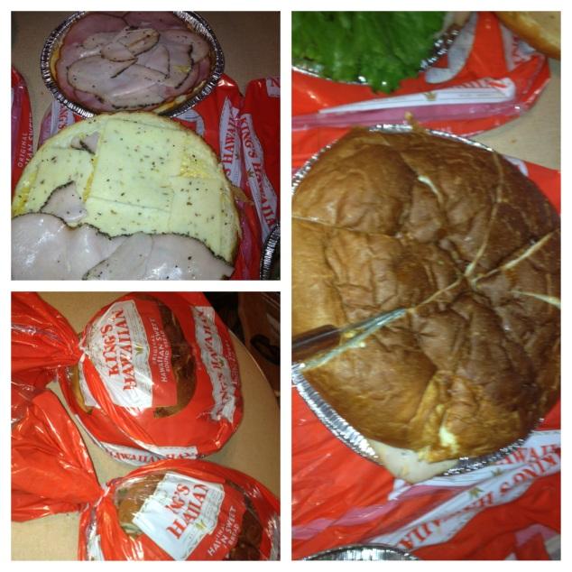 Assembling the Hawaiian sandwiches