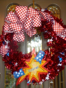 Our wreath is complete, adding a warm welcome and great 1st impression to the front doorway.