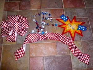 Gather ingredients, Ribbon, focal point and star garland