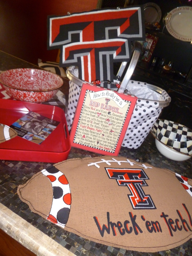 We gathered up serving pieces, table cloths, trays and baskets in Red, Black and White