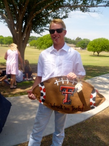 Colby loves his Glory Haus Texas Tech football burlee.