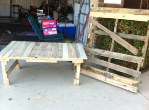 Table is assembled from pallet wood