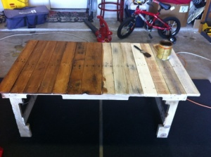 Stain you pallet project to allow the variety of wood colors to be enhanced.