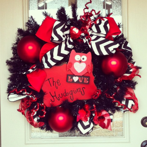 Red Tinsel wreath leaps from Season to Season and celebration to Holiday!