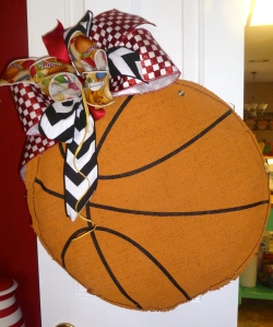 Glory Haus Basketball Burlee hangs on kitchen door for party!