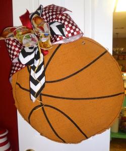 Glory Haus Basketball Burlee hangs on kitchen door for party!
