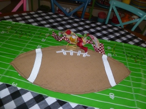 Football Burlee doubles as a centerpiece!