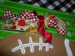 Football Burlee scores! Topped of with ribbon ties!