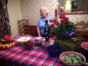 Mom, ready to host her Patriotic Bunko party!