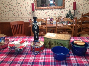 Place table cloth on table and add collection of patriotic goodies.