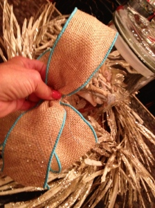 Burlap wired ribbon with a Caribbean blue edge is perfect!