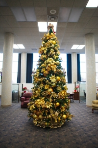 Christmas Tree Gold Glitter Magic , commercial decorating by Show Me Decorating Community National Bank