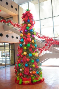 Show Me a Bold Christmas tree theme for the Security Bank atrium.