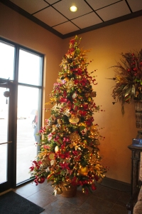 Classy Spice colors dress up the Commercial Christmas tree at West Texas Abstract