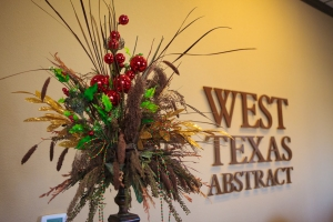 Christmas florals and Sprays dress up this everyday Floral for Christmas, West Texas Abstract