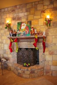 Christmas Mantle, Christmas Mantel, Santa Painting, Stockings, Show Me Decorating