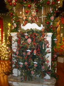 Mustache Christmas tree theme