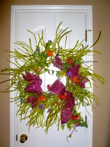 Repurpose and reuse Easter/Spring wreath base