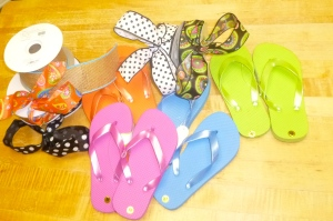Assorted wired ribbon in bright fun colors to coordinate with flip flops!