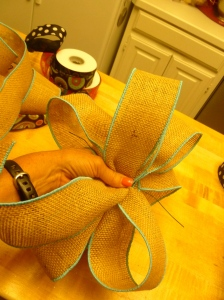 Burlap wired ribbon will add the finishing touch!