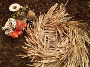 Ribbon selection and twister grass wreath