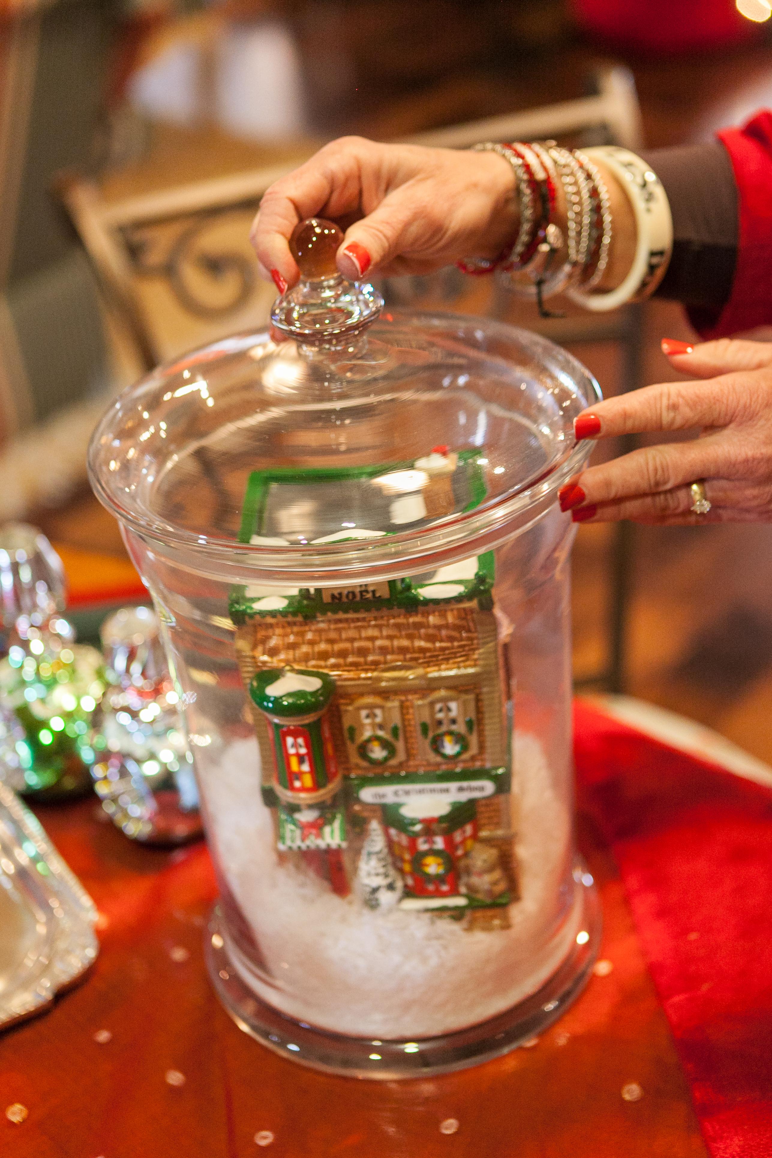 Christmas Decorating Ideas For Glass Jars : Show me a quick dept village christmas centerpiece