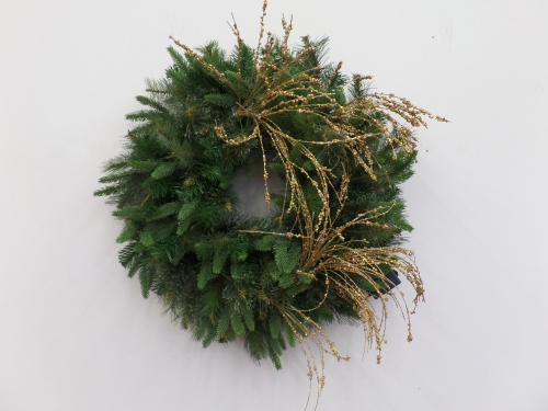 Add in a glitter gold floral spray, using it's wire base and the pine branches to wrap and secure.