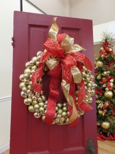 Wire on a red and gold bow to a Gold ball wreath or choose your own color combination!